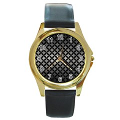 Circles3 Black Marble & Gray Metal 1 (r) Round Gold Metal Watch by trendistuff