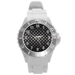 Circles3 Black Marble & Gray Metal 1 (r) Round Plastic Sport Watch (l) by trendistuff