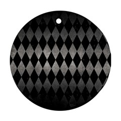 Diamond1 Black Marble & Gray Metal 1 Ornament (round) by trendistuff