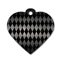 Diamond1 Black Marble & Gray Metal 1 Dog Tag Heart (two Sides) by trendistuff