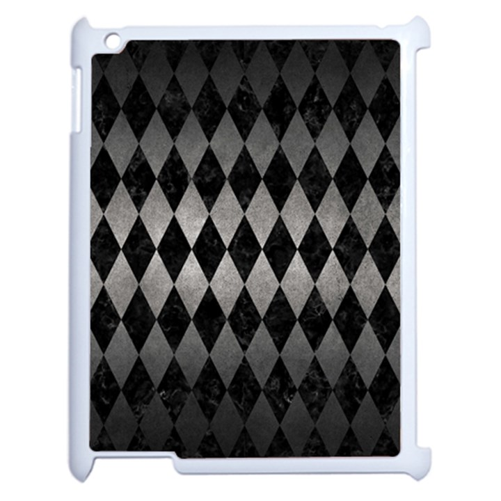 DIAMOND1 BLACK MARBLE & GRAY METAL 1 Apple iPad 2 Case (White)