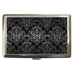 Damask1 Black Marble & Gray Metal 1 Cigarette Money Cases by trendistuff