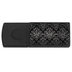Damask1 Black Marble & Gray Metal 1 Rectangular Usb Flash Drive by trendistuff