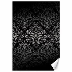 Damask1 Black Marble & Gray Metal 1 Canvas 12  X 18   by trendistuff