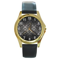 Damask1 Black Marble & Gray Metal 1 (r) Round Gold Metal Watch by trendistuff