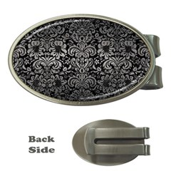 Damask2 Black Marble & Gray Metal 1 Money Clips (oval)  by trendistuff