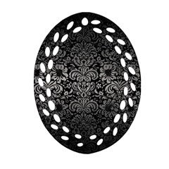 Damask2 Black Marble & Gray Metal 1 Oval Filigree Ornament (two Sides)