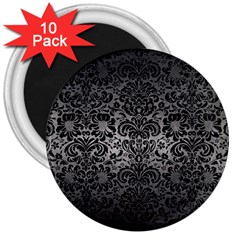 Damask2 Black Marble & Gray Metal 1 (r) 3  Magnets (10 Pack)  by trendistuff