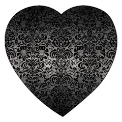 Damask2 Black Marble & Gray Metal 1 (r) Jigsaw Puzzle (heart) by trendistuff