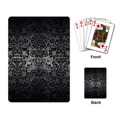 Damask2 Black Marble & Gray Metal 1 (r) Playing Card by trendistuff