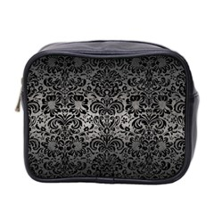 Damask2 Black Marble & Gray Metal 1 (r) Mini Toiletries Bag 2 Side by trendistuff
