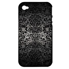 Damask2 Black Marble & Gray Metal 1 (r) Apple Iphone 4/4s Hardshell Case (pc+silicone) by trendistuff
