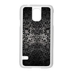 Damask2 Black Marble & Gray Metal 1 (r) Samsung Galaxy S5 Case (white)