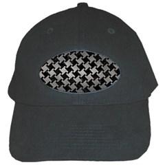 Houndstooth2 Black Marble & Gray Metal 1 Black Cap by trendistuff