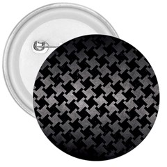 Houndstooth2 Black Marble & Gray Metal 1 3  Buttons by trendistuff