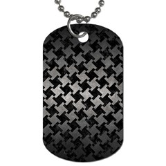 Houndstooth2 Black Marble & Gray Metal 1 Dog Tag (two Sides) by trendistuff