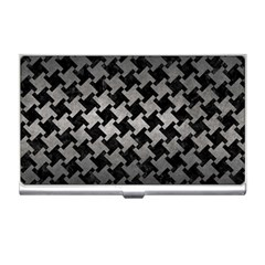 Houndstooth2 Black Marble & Gray Metal 1 Business Card Holders by trendistuff