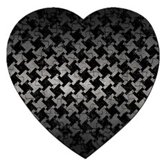 Houndstooth2 Black Marble & Gray Metal 1 Jigsaw Puzzle (heart) by trendistuff