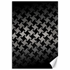 Houndstooth2 Black Marble & Gray Metal 1 Canvas 12  X 18   by trendistuff