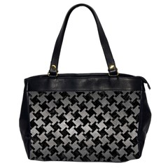 Houndstooth2 Black Marble & Gray Metal 1 Office Handbags (2 Sides)  by trendistuff