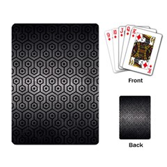Hexagon1 Black Marble & Gray Metal 1 (r) Playing Card by trendistuff