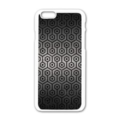 Hexagon1 Black Marble & Gray Metal 1 (r) Apple Iphone 6/6s White Enamel Case