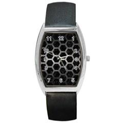 Hexagon2 Black Marble & Gray Metal 1 Barrel Style Metal Watch by trendistuff