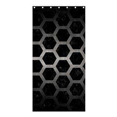 Hexagon2 Black Marble & Gray Metal 1 Shower Curtain 36  X 72  (stall)  by trendistuff
