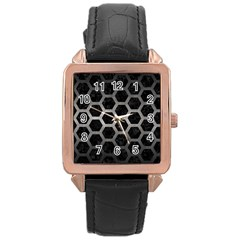 Hexagon2 Black Marble & Gray Metal 1 Rose Gold Leather Watch