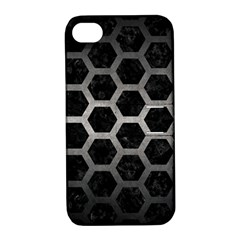 Hexagon2 Black Marble & Gray Metal 1 Apple Iphone 4/4s Hardshell Case With Stand by trendistuff