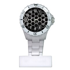 Hexagon2 Black Marble & Gray Metal 1 Plastic Nurses Watch by trendistuff