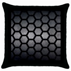 Hexagon2 Black Marble & Gray Metal 1 (r) Throw Pillow Case (black) by trendistuff