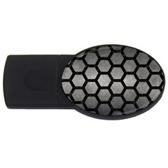 Hexagon2 Black Marble & Gray Metal 1 (r) Usb Flash Drive Oval (4 Gb) by trendistuff