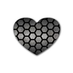 Hexagon2 Black Marble & Gray Metal 1 (r) Heart Coaster (4 Pack)  by trendistuff