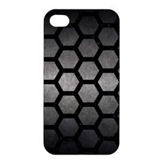 Hexagon2 Black Marble & Gray Metal 1 (r) Apple Iphone 4/4s Premium Hardshell Case by trendistuff