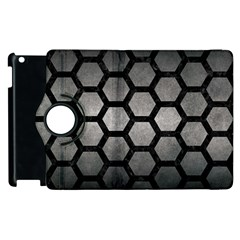Hexagon2 Black Marble & Gray Metal 1 (r) Apple Ipad 2 Flip 360 Case by trendistuff
