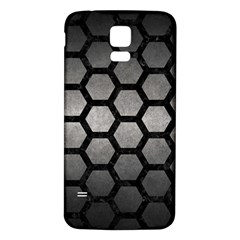 Hexagon2 Black Marble & Gray Metal 1 (r) Samsung Galaxy S5 Back Case (white) by trendistuff