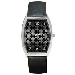 Puzzle1 Black Marble & Gray Metal 1 Barrel Style Metal Watch by trendistuff