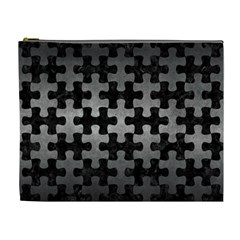 Puzzle1 Black Marble & Gray Metal 1 Cosmetic Bag (xl) by trendistuff