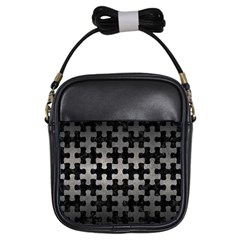 Puzzle1 Black Marble & Gray Metal 1 Girls Sling Bags by trendistuff