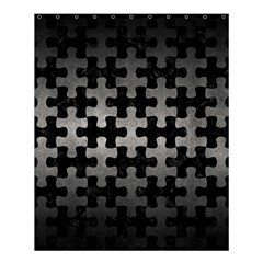 Puzzle1 Black Marble & Gray Metal 1 Shower Curtain 60  X 72  (medium)  by trendistuff