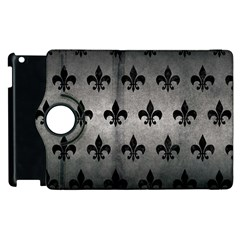 Royal1 Black Marble & Gray Metal 1 Apple Ipad 2 Flip 360 Case by trendistuff