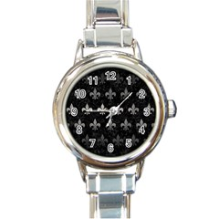 Royal1 Black Marble & Gray Metal 1 (r) Round Italian Charm Watch by trendistuff