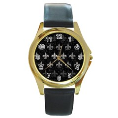 Royal1 Black Marble & Gray Metal 1 (r) Round Gold Metal Watch by trendistuff