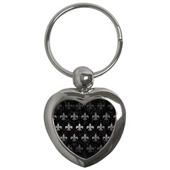 Royal1 Black Marble & Gray Metal 1 (r) Key Chains (heart)  by trendistuff
