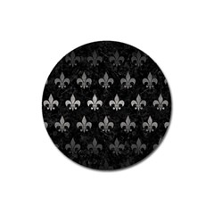 Royal1 Black Marble & Gray Metal 1 (r) Magnet 3  (round) by trendistuff