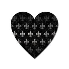 Royal1 Black Marble & Gray Metal 1 (r) Heart Magnet by trendistuff