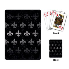 Royal1 Black Marble & Gray Metal 1 (r) Playing Card by trendistuff