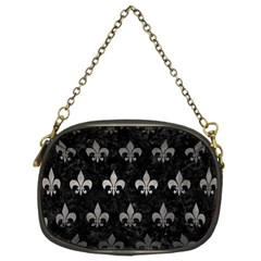 Royal1 Black Marble & Gray Metal 1 (r) Chain Purses (two Sides)  by trendistuff