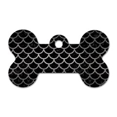 Scales1 Black Marble & Gray Metal 1 Dog Tag Bone (one Side) by trendistuff